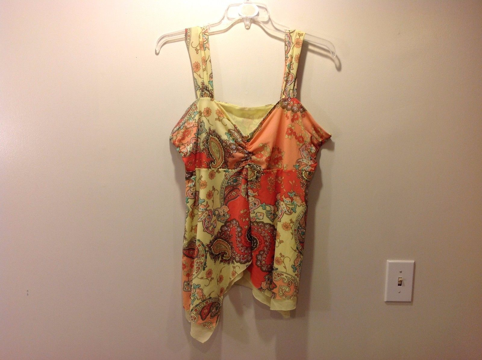 Fashion Bug Bright Warm Sleeveless Floral Paisley Blouse Sz 18 20