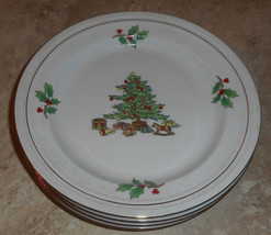 Tienshan HOLIDAY HOSTESS Set of 4 Salad Plates Christmas Tree - $9.84