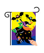 "Bats & Witch Halloween (13"" x 18"" Approx ) Garden Size Flag TG 62044 - $14.99"