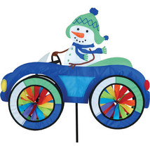 Snowman in Fun Car Vehicle Staked Wind Spinner With Pole & Ground Mount ... - $48.99