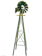 Miniature 8 Ft Windmill (American Farm Style) 8 ft Green & Yellow 62- SM... - $76.99