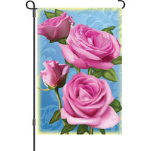 "Roses Pretty In Pink Brilliance (12"" x 18"" Approx ) Garden Size Flag PR ... - $12.99"