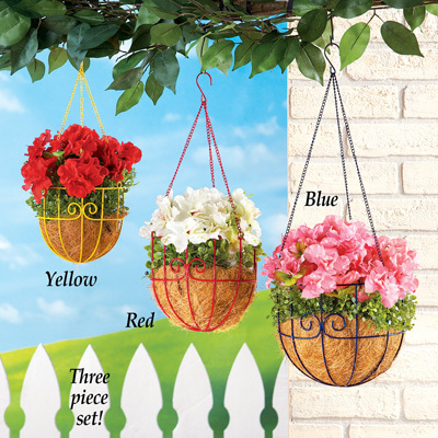 Primary image for Set of 3 Colorful Metal Scroll Hanging Planter Baskets