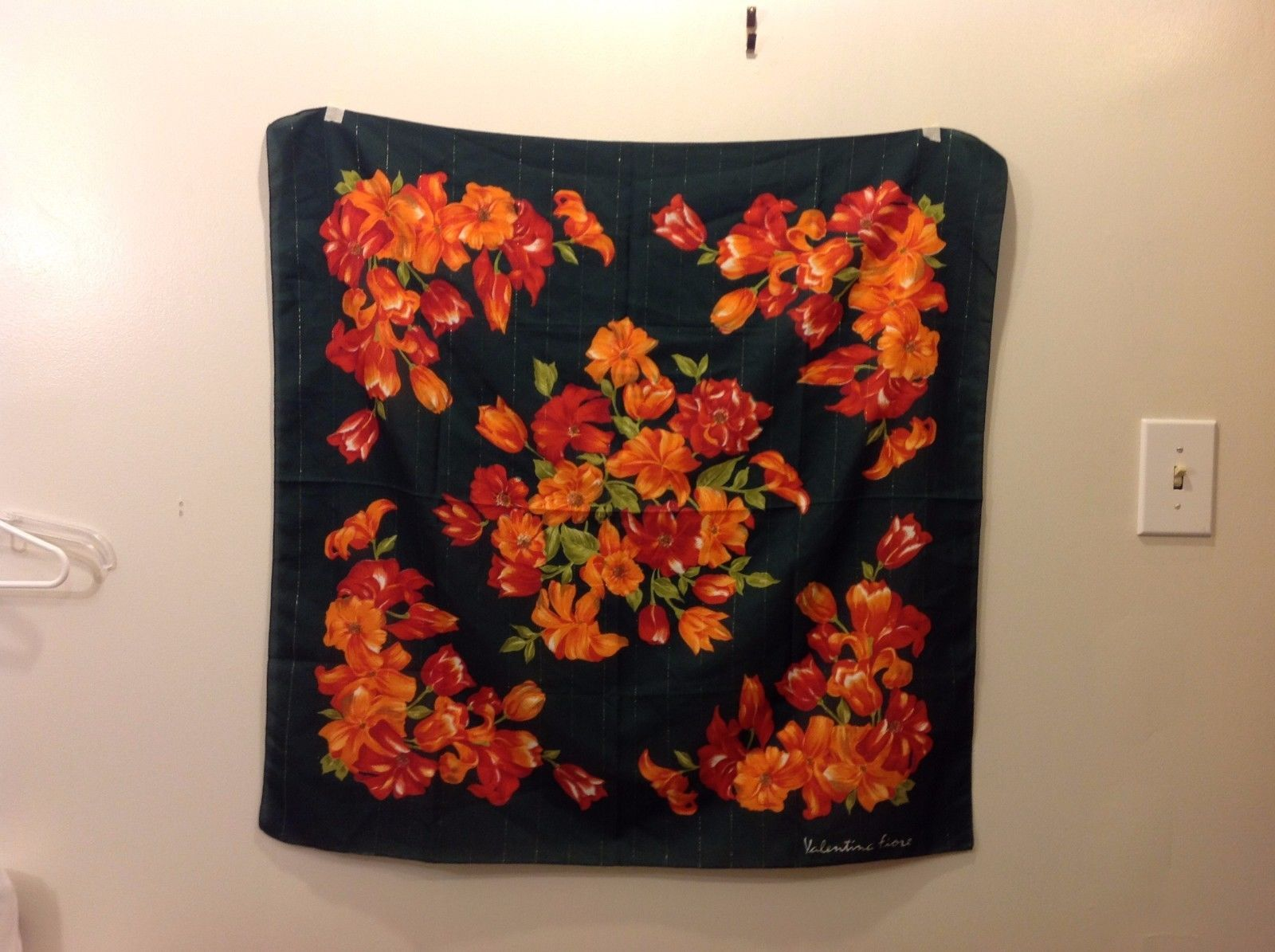 Valentina Fiore Pine Green Scarf w Gorgeous Red Orange Floral Design
