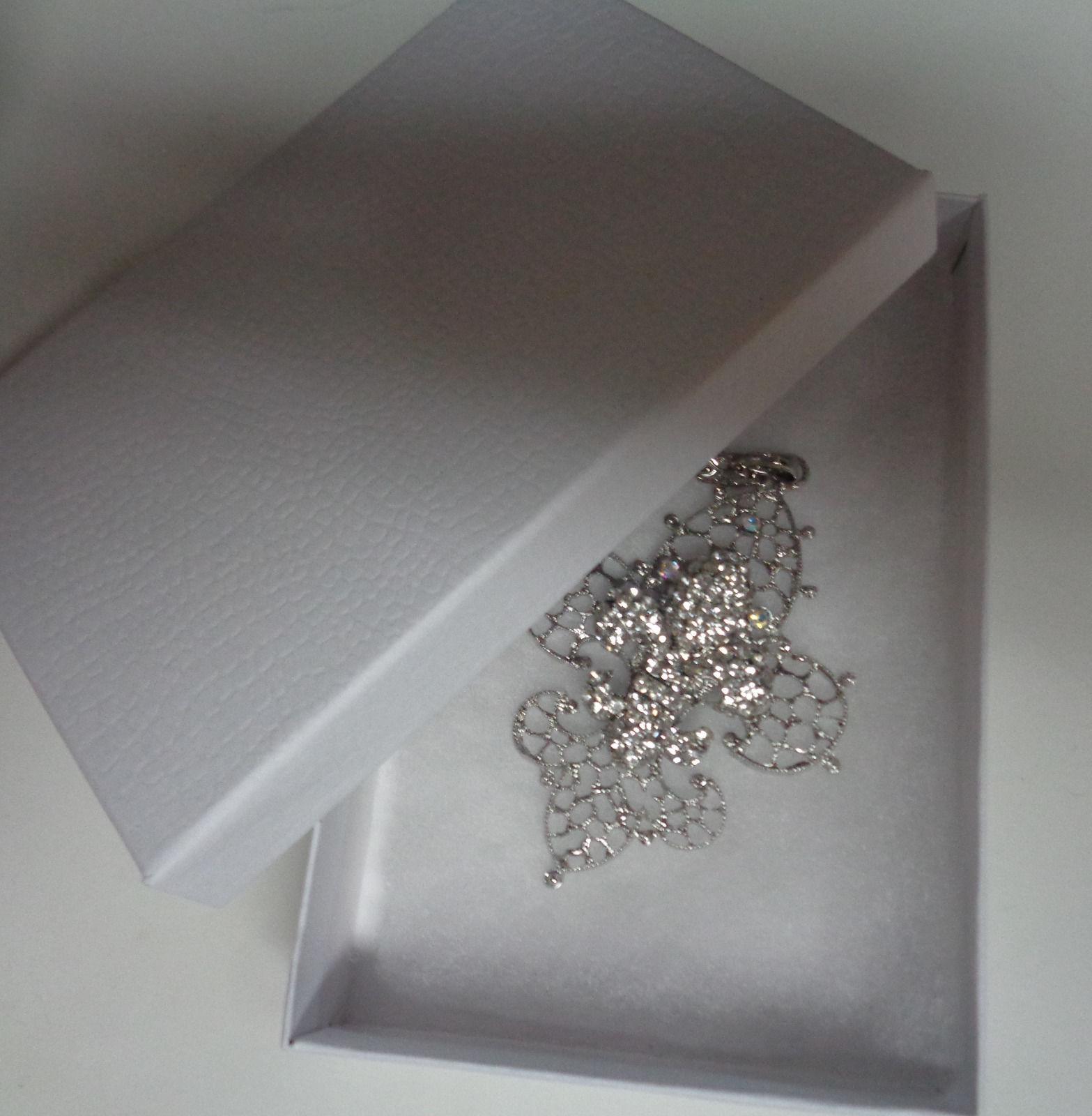 Fleur De Lis Necklace LARGE Silver Plated Rhinestones Accents NIB