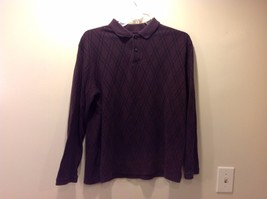 Deep Plum Purple Long Sleeve Diamond Patterned Collared Shirt Sz XL