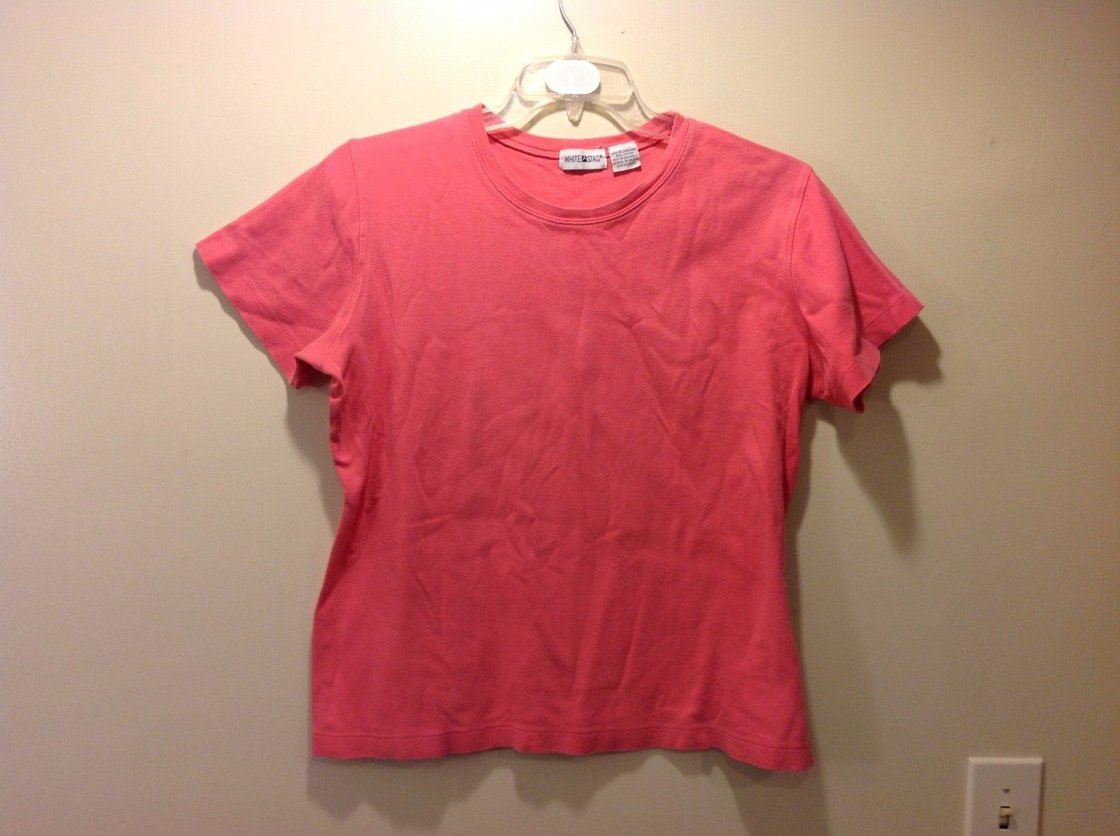 Ladies White Stag Simple Pink Short Sleeve Shirt Sz XL