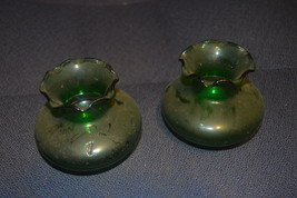 Vintage,pair of 2 small Green Depression Glass ... - $12.59