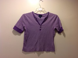 Ladies CHAPS Classics Purple White Striped Half Sleeve Polo Shirt Sz M
