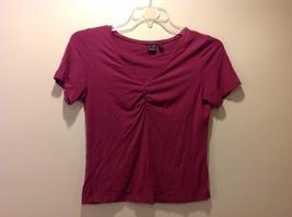 AKS Magenta V Neck Short Sleeve Blouse w Embroidered Neckline Sz M