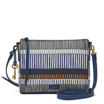 Fossil Emma EW Navy Stripe PVC/Polyurenthane Trim Zipper Closure Crossbody - $219.99