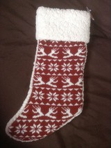 NEW Holiday Stocking RED knit sweater design Pet dog Christmas - Boots &... - $8.90