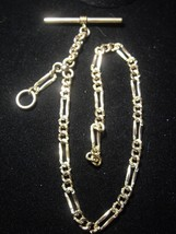 Antique 14 K GOLD FILLED Single Albert WATCH CHAIN Ornate Figaro - FREE ... - $300.00