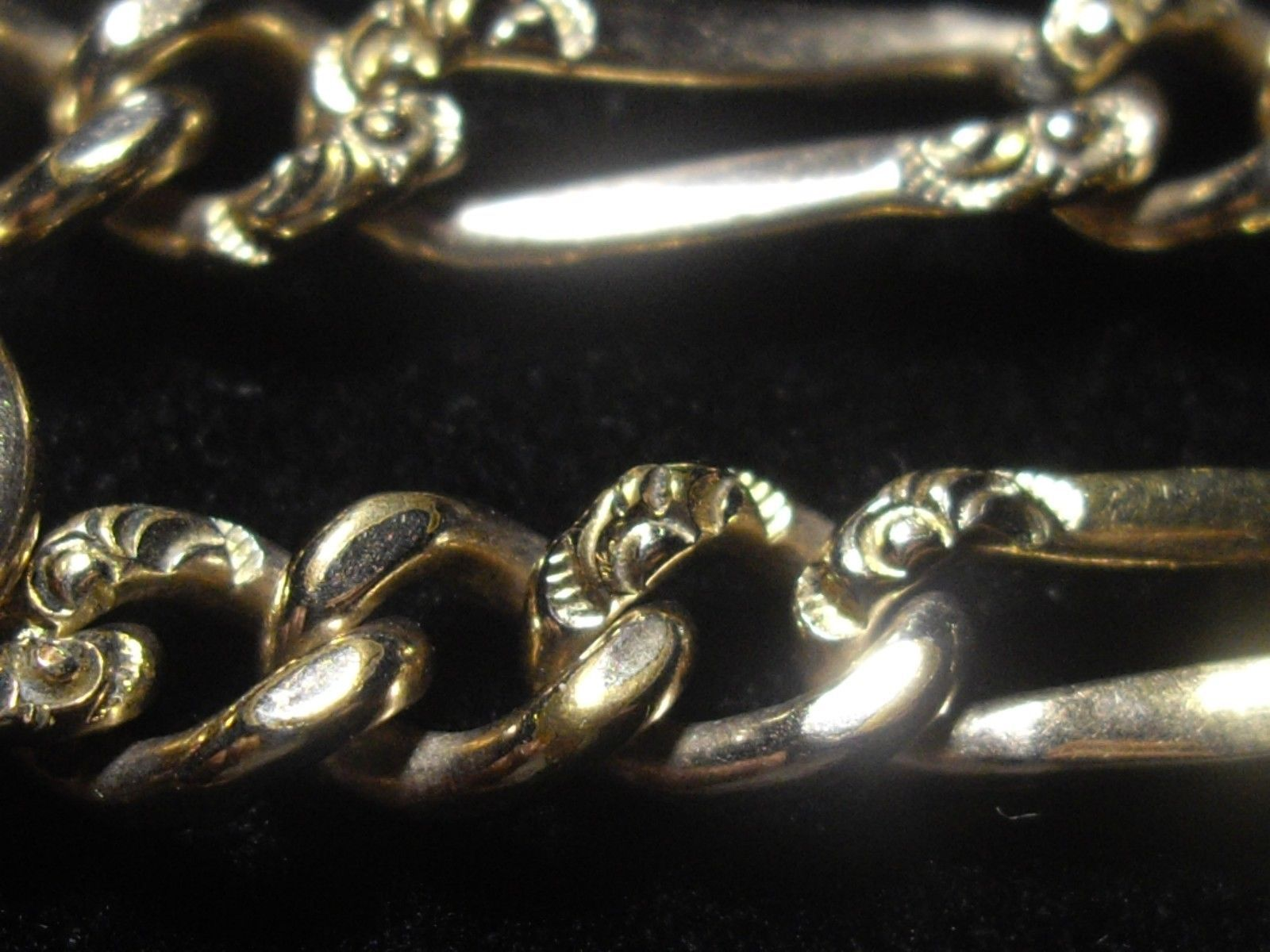 Antique 14 K GOLD FILLED Single Albert WATCH CHAIN Ornate Figaro - FREE SHIPPING