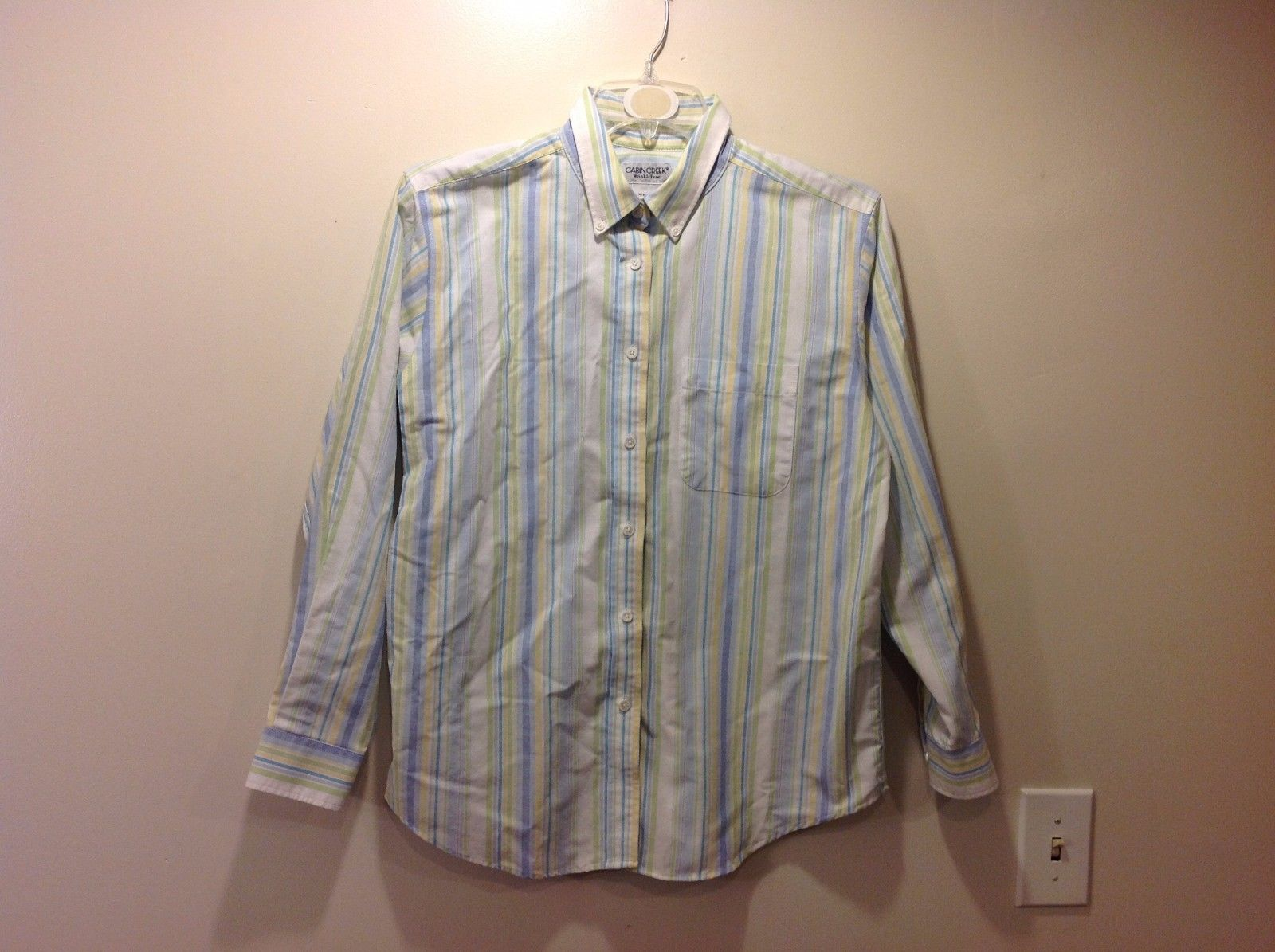 Cabin Creek Spring Colored Vertically Striped Button Up Collared Shirt Sz 12