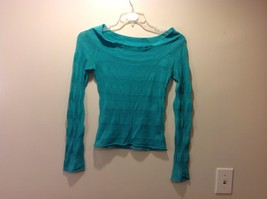 One Step Up Turquoise Semi Sheer Lt Knit Long Sleeve Striped Top Sz M