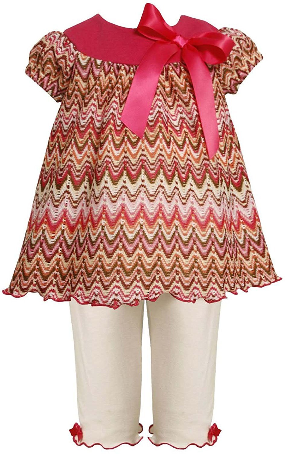 Baby Girl 3M-24M Rose-Pink Ivory Flamestitch Knit Dress/Legging Set, Bonnie Jean