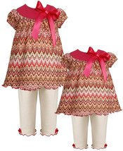 Baby Girl 3M-24M Rose-Pink Ivory Flamestitch Knit Dress/Legging Set, Bonnie Jean image 2