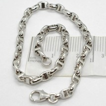 White gold bracelet 18k 750 point bar made in italy long 19 inches - $534.94