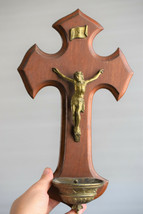 ⭐ antique/vintage French crucifix ,holy water font⭐ - $38.61