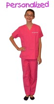 Personalized Pink Kids Scrubs for little Doctors, Nurses, and Veterinarians - $25.98