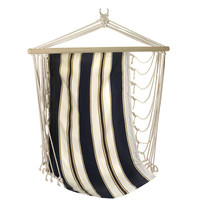 Hammock Seat, Cotton Single Hanging Chairs Outdoor With Navy Blue Stripes - £34.37 GBP