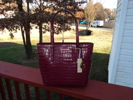 Authentic Michael Kors Jet Set Travel Large Tote Embossed Leather Mulber... - $158.39