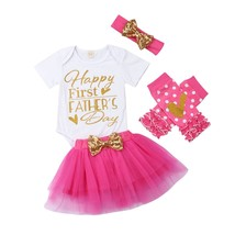 "Toddler Baby Girls 4Pcs Sets Happy First Father ""s Day Printed Romper To... - $13.99"