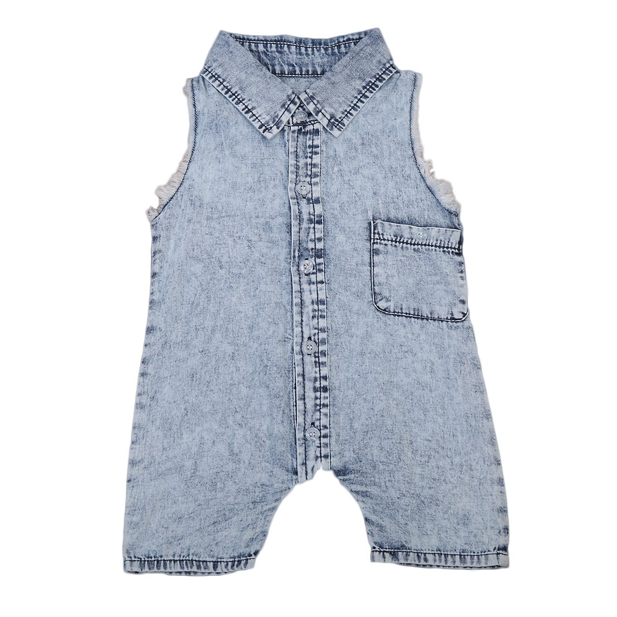 Primary image for Pudcoco Baby Boys Denim Rompers With Turn Down Collar Tank Romper Overall Sleeve