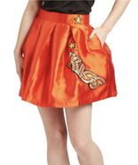 Hesperus Premium Women's Red Satin Kiss Circle Skater Skirt Patches Cost... - $23.23