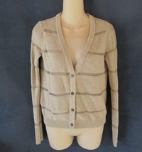 LOFT cardigan sweater M beige gold metallic stripes long sleeves - $12.69