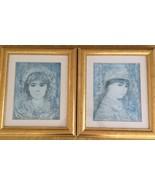 EDNA HIBEL'S fine art limited editions w/mat, frame ,pair, w/COA's. - $69.78