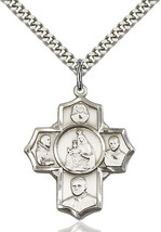 Sterling Silver Polish 4-Way Pendant 1 1/8 X 1 inch with 24 inch Chain - $65.10