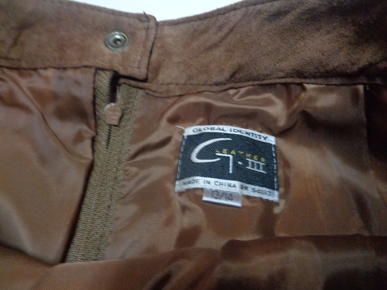 Global Identity Brown Genuine Suede Leather Skirt NWT Sz 13/14