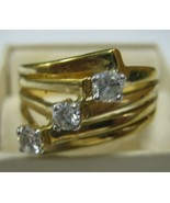 Marked ESPO 4 KT. G.E. size 9 3/4 ring 3 clear rhinestones on gold color... - $9.90