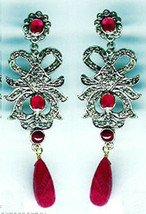 Victorian 2.51ct Rose Cut Diamond Ruby Lovely Earrings Vintage Jewelry V... - $692.64
