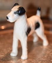 "Vintage Porcelain Wire-Haired Fox Terrier Dog  Figurine BLACK & WHITE 5""L - $29.99"