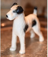 "Vintage Porcelain Wire-Haired Fox Terrier Dog  Figurine BLACK & WHITE 5""L - $29.99"