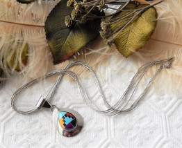 Navajo Signed Multi Strand .925 Sterling Silver and Inlaid Gemstone Neck... - €61,00 EUR+