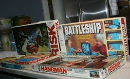 Vintage Board Game Lot HANGMAN BATTLESHIP RISK TAKE 5 CHINESE CHECKERS R... - $59.35