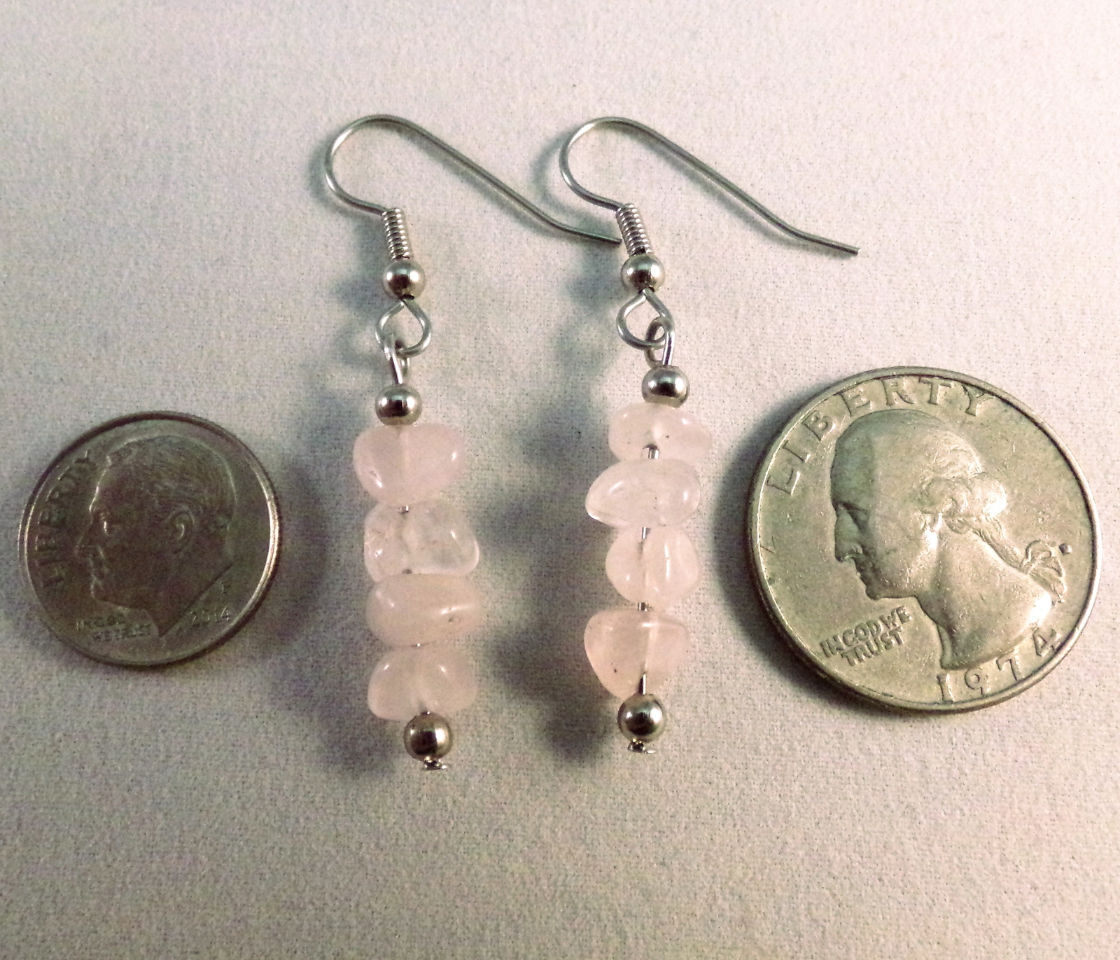 Natural Rose Quartz Chip Straight Bar Drop Earrings Pink Handmade