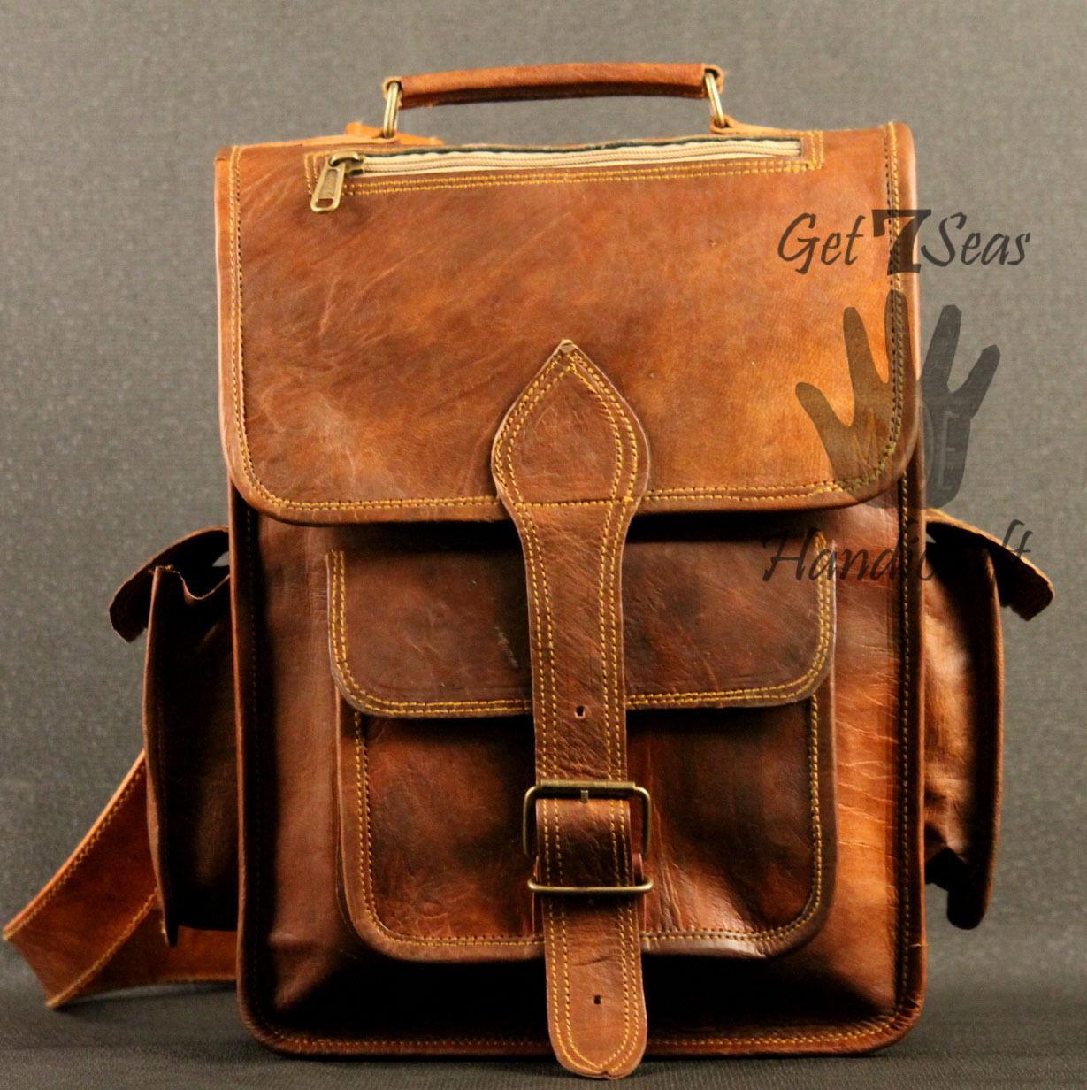 Real genuine men's leather backpack bag laptop satchel briefcase men vintage