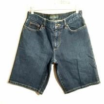 LAUREN RALPH LAUREN womens bermuda shorts 8 dark blue high rise waist st... - $59.99