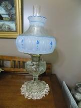 Vintage Aladdin Clear Glass Lincoln Drape Blue Rose Shade Oil Lamp (12) - $177.21