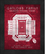 "Oklahoma Sooners ""Retro"" Stadium Seating Chart 13x16 Framed Print  - $39.95"