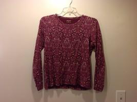 St Johns Bay Maroon Lavender Lt Gray Magenta Floral Paisley Long Slv Shirt Sz M