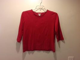 Christopher and Banks Red 3 Quarter Sleeve Blouse w Frilly Neckline Sz M