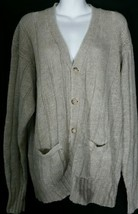 Vintage Polo Ralph Large Cardigan Sweater L Beige Linen Ramie Hong Kong    - $46.74
