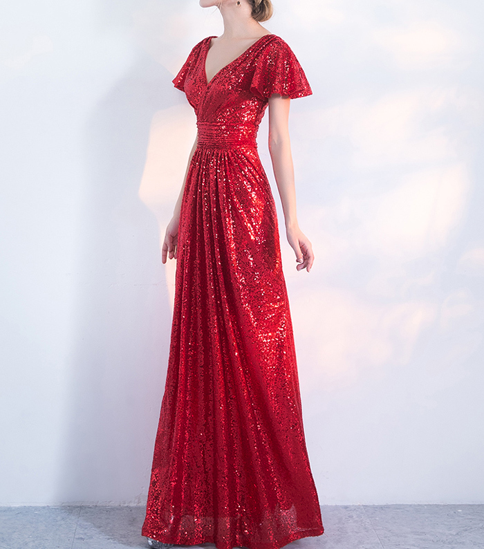 Maxi sequin dress red 4