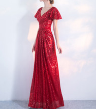 Women Sequin Maxi Dresses Cap Sleeve High Waist Maxi Sequin Dress Gold Red Black image 4
